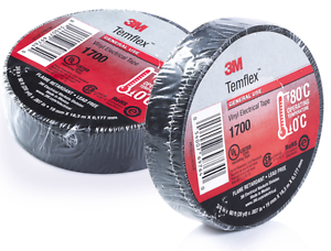 """3M TEMFLEX 1700 ELECTRICAL TAPE BLACK 3//4/"""" x 60 FT INSULATED ELECTRIC 5 ROLLS"""