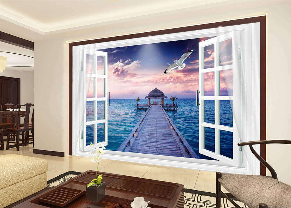 Great Sunset On Sea 3D Full Wall Mural Photo Wallpaper Printing Home Kids Decor