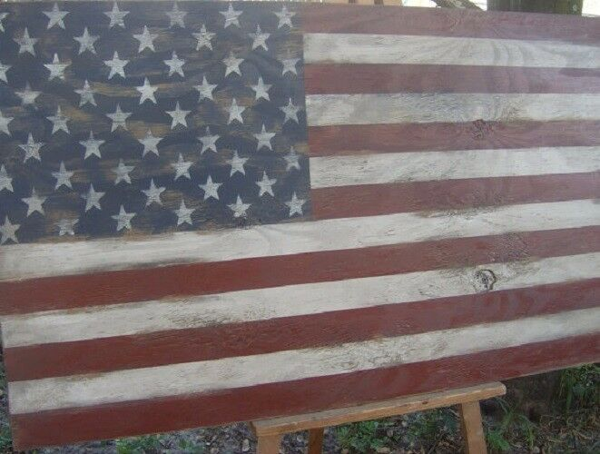 Hand painted Distressed American flag wall decor-46 X 25