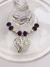 30Purple Metallic Crystal Wine Glass Charms. Wedding. Favours. RESERVED