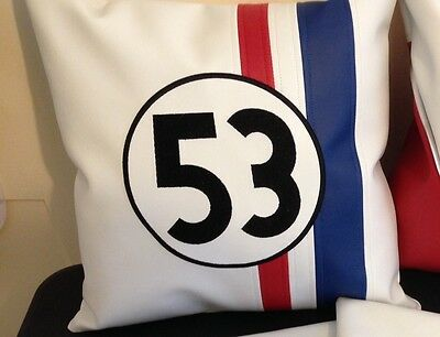 1 Pair of VW Herbie 53 Faux Leather Embroidered Cushion Cover 16""