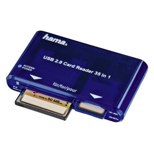 New Reino Unido Stock Hama 35 en 1 Lector de Tarjetas USB 2.0