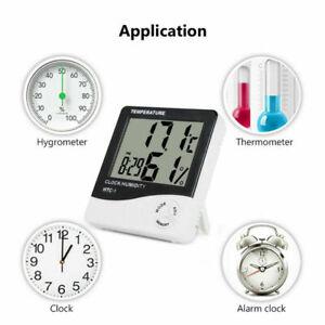 Mini Digital LCD Temperature Humidity Meter Clock Indoor Hygrometer Thermometer