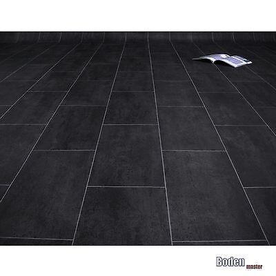 Restposten PVC Fliese Schwarz Melbourne Noir 130 x 300 cm        00385