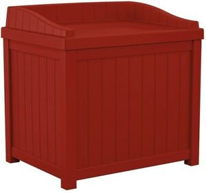 22 Gal Red Small Storage Seat Deck Box Storing Garden