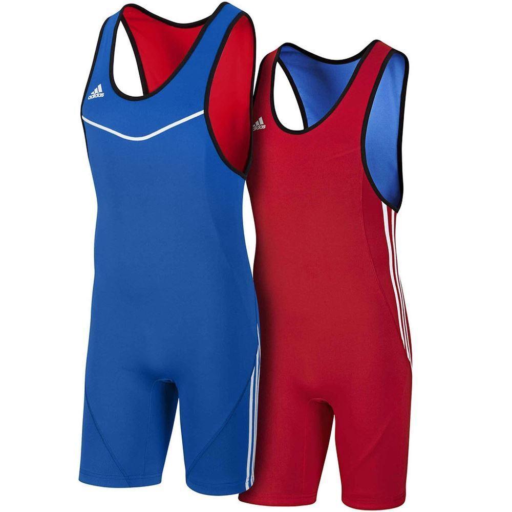 Adidas Reversible Wrestling Singlet Classic Weightlifting Suit Blau rot Uniform