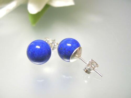 9.5mm 8 Gem quality natural navy blue Lapis round ball stud 925 Silver earring