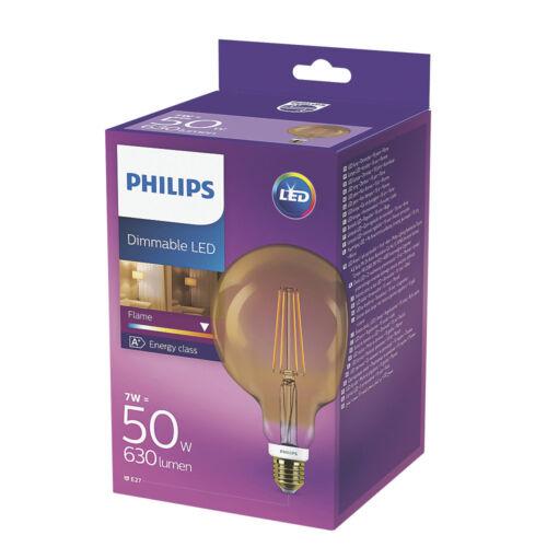 2 x Philips ES LED Filament Globe Gold Light Bulb 7W = 50W 630lm ES E27 Warm Whi