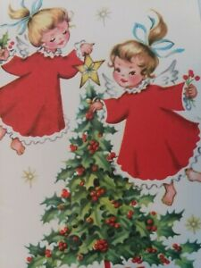 Vtg-Angel-GIRLS-in-Red-DRESSES-Put-STAR-on-CHRISTMAS-Tree-GREETING-CARD