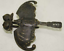 old CHINESE BRONZE LOCK BAT SHAPE WITH KEY IN GOOD WORKING CONDITION