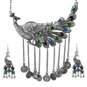 Indian Women Silver Oxidized Peacock Necklace Set Fashion Jewelry Bihu Trible Fashion Jewellery