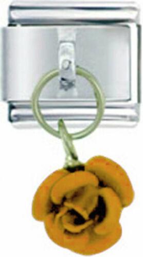 ROSE GOLD TONE FLOWER Dangle Italian 9mm Charm GA063 Fits Nomination Classic