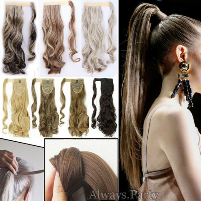 Us Clip In Hair Extensions Real Thick Wrap On Ponytail Pony Tail New