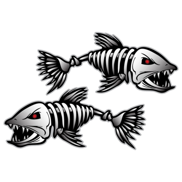 Skeleton Fish Graphic Die Cut decal sticker Car Truck Boat Window Bumper 12/""