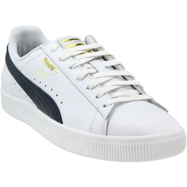 15bfc9d1f2d Men s PUMA Clyde Core L Foil SNEAKERS White Navy Sport Walking Shoes ...