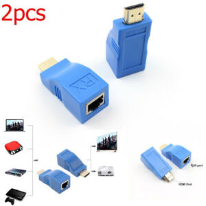 Blue-2pcs-1080P-HDMI-Extender-to-RJ45-Over-Cat-5e-6-Network-LAN-Ethernet-Adapter