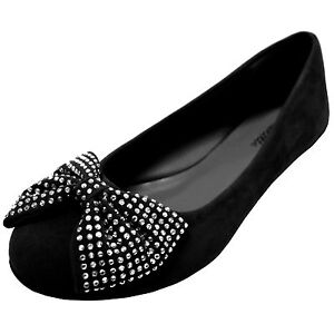 New women/'s shoes ballet flat ballerina suede bow rhinestones black casual party