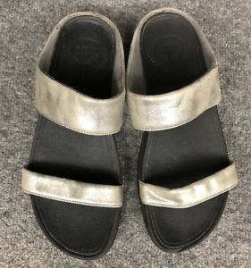 5d97fc0deb6c Fitflop Women s Lulu Shimmer Suede Slide Wedge Sandals Size 9 Pewter ...
