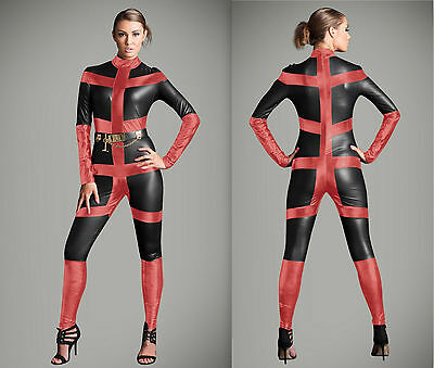 Gothic Black /red Catsuit & Body suit Jumpersuit Halloween Costume Zipper S-2XL