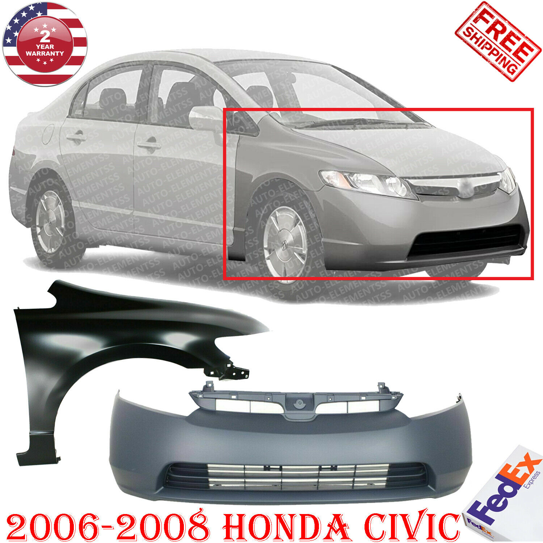 Bumper Cover Kit For 2012 Honda Civic Front 4-Door Sedan 2pc with Fender