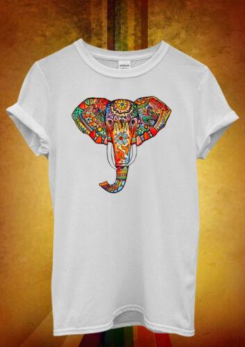 ELEPHANT motif ethnique coloré art Hommes Femmes Unisexe T shirt débardeur débardeur 578