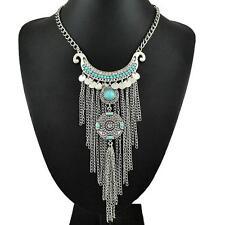 "Bohemian ""Urban Ethnic"" Turqiose Silver Chain - Nickel Free Necklace"