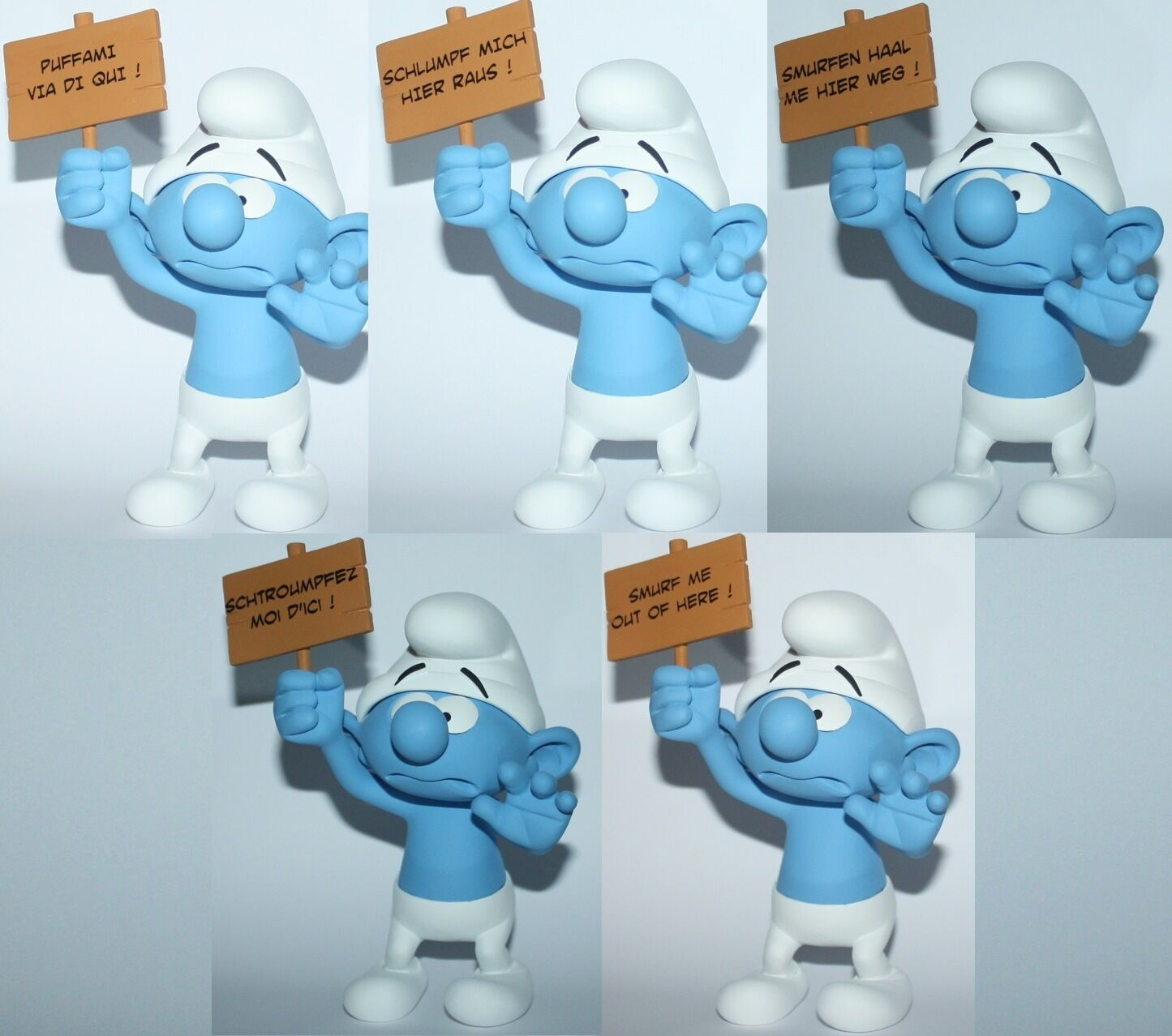 FARIBOLES SCHTROUMPF SOS PUFFO PUFFI SMURF SMURFS 5 Different all Languages