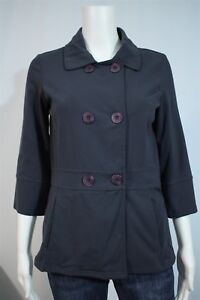 Roots-Misses-SMALL-Grayish-Blue-3-4-Sleeve-Stretchy-Pea-Coat-Jacket