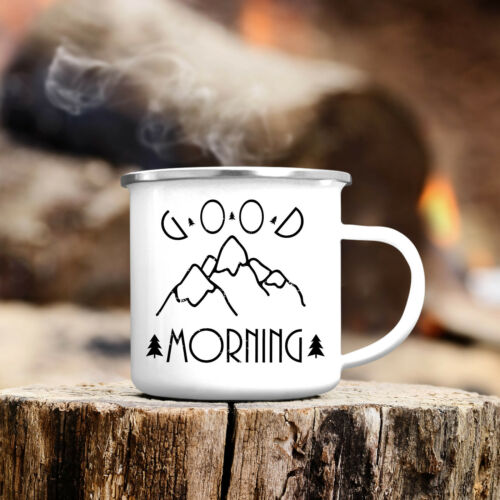 Campingbecher Good Morning Berge Emaille CB313 Outdoor Kaffeebecher Tasse