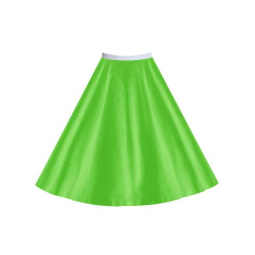 "Ladies 17/"" POLKA DOT or Plain ROCK N ROLL SKIRT 1950s Grease FANCY DRESS COSTUME"
