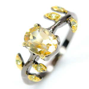 Sterling-silver-925-Natural-8x6-Citrine-Vintage-Style-with-Peridot-RVS304