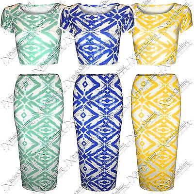 Unter Der Voraussetzung Womens Ladies Bodycon Aztec Tie Dye Print Pencil Midi Skirts Crop Tops Top Suit
