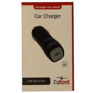 ZipKord-5V-3-Amp-Vehicle-Car-Charger-with-USB-C-Type-C-Port-Black-Gray