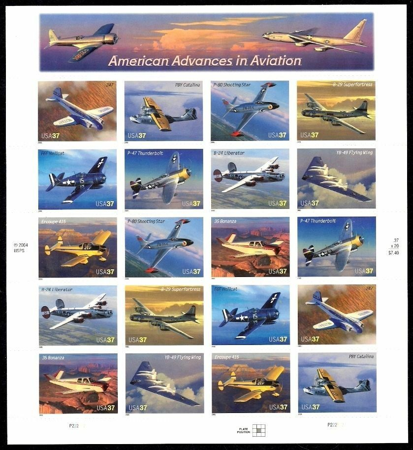 2005 37c American Advances in Aviation, Sheet of 20 Sco