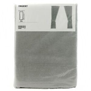 IKEA-INGERT-2-Gardinen-mit-Raffhalter-Vorhang-145x300cm-in-grau-NEU-amp-OVP