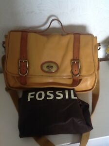 Fossil-Mustard-Yellow-Satchel-With-Brown-Trim