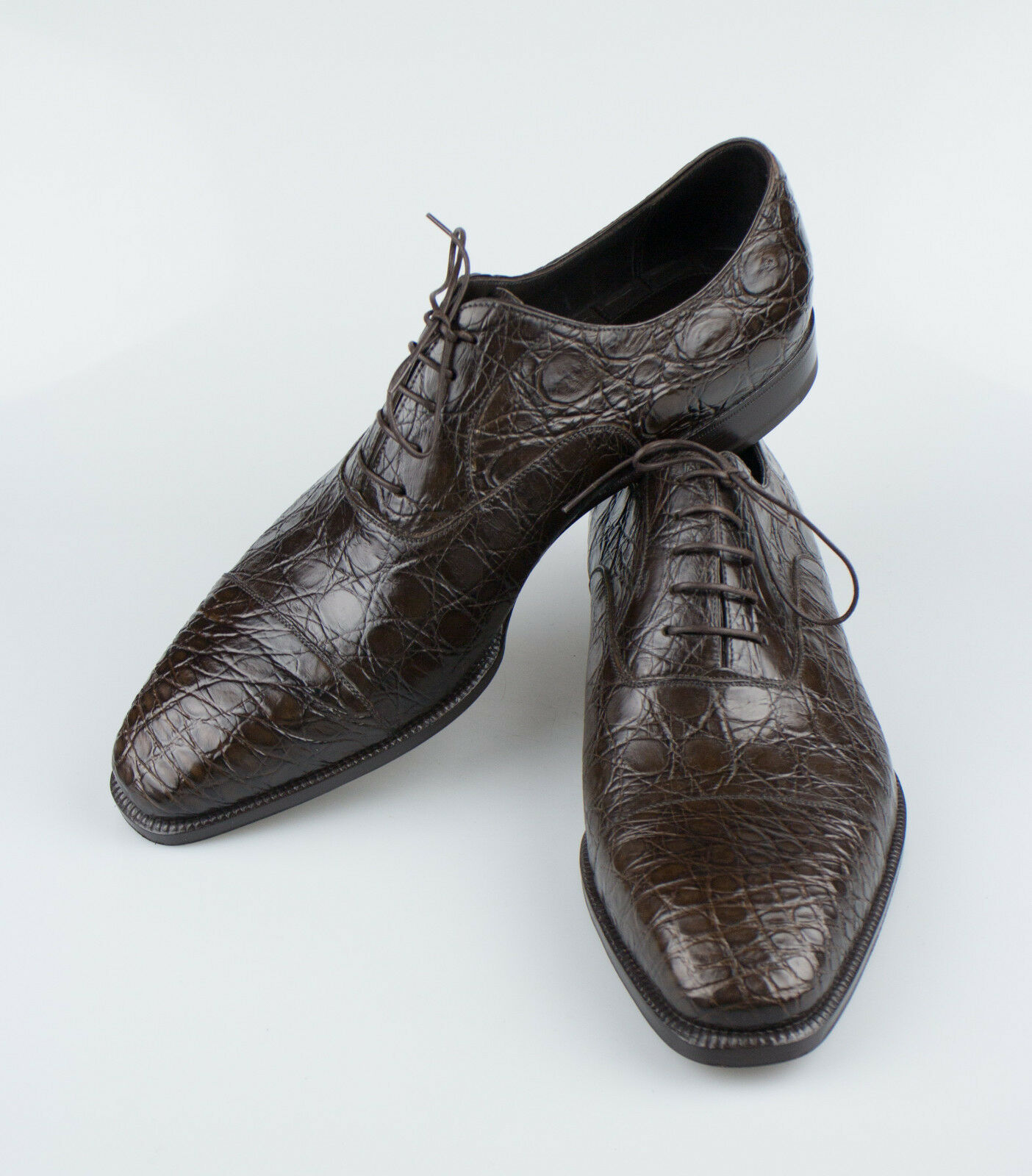 New BRIONI Brown Crocodile Leather Oxford Dress shoes Size 9 42