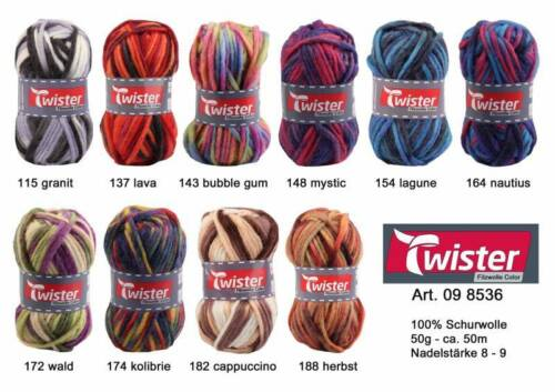 EUR 5,80//100 g Twister 50g fieltro lana color para strickfilzen aguja grosor 8-9