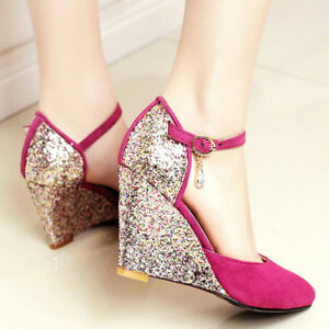 new-WOmen-039-s-high-Wedge-Heels-Suede-Pointed-toe-Glitter-Pumps-Ankle-Strap-Shoes