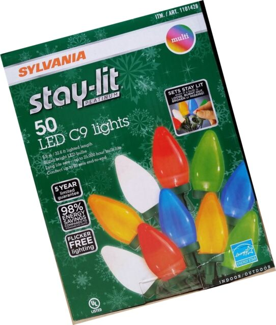 Sylvania Stay Lit Platinum 50 Led C9 Lights For Indoor Outdoor Use