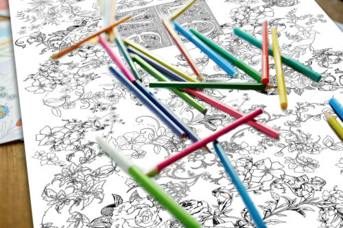 Extra Large Giant Childrens Kids Colour In Floral Art /& Craft Colouring Poster