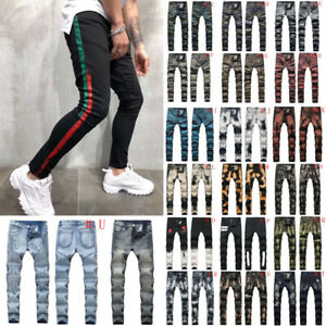 Men-Skinny-jeans-Stretchy-Pant-Denim-Pant-Long-Pant-Frayed-jeans-Ripped-jeans