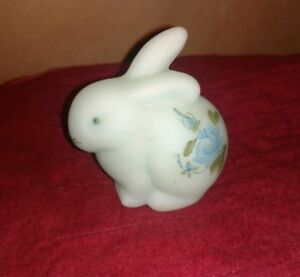 Blue Satin Signed By Artist Bunny Figurine Fenton Hand Painted Roses