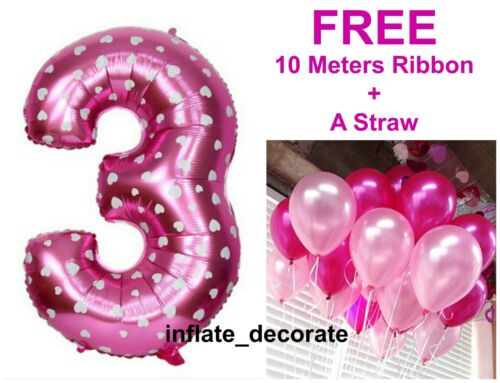 """16/"""" Pink Blue Foil Number Balloons Self Inflating Air Birthday Age Wedding Balon"""