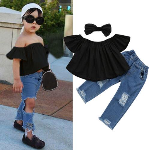 Toddler Baby Kids Girls Ruffles Top+Hole Denim Pants+Hairband Child Outfits 3pcs