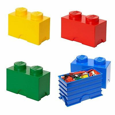 Lego Storage Brick with Two Knobs in Red NEW
