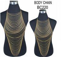 Lady Harness Tassel Chunky Gold Plated Bikini Beach Necklace Waist Body Chain B