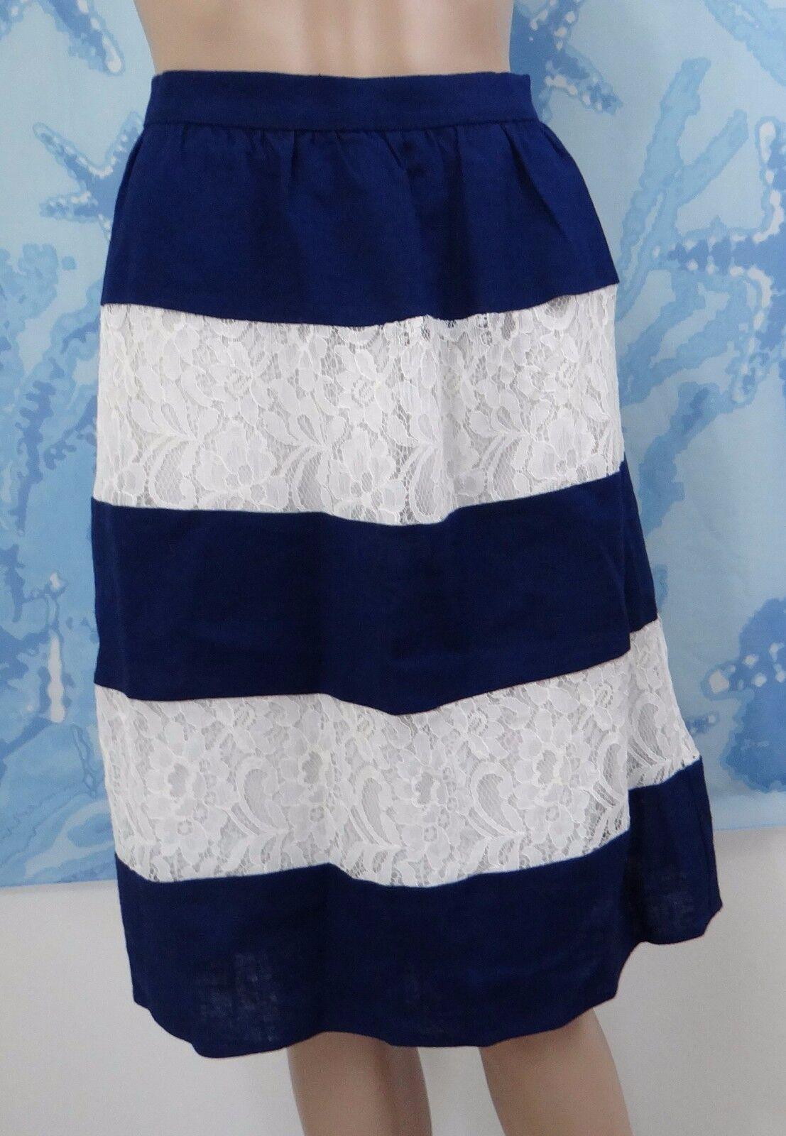 Lark & Ro Women's white Lace and navy Linen Striped Skirt, size L