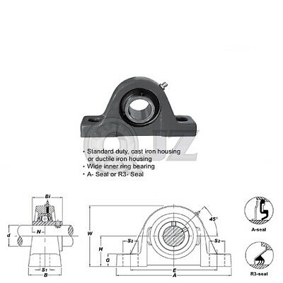 2x 1.4375in Square Flange Unit Cast Iron UCF207-23 Mounted Bearing UC207-23+F207