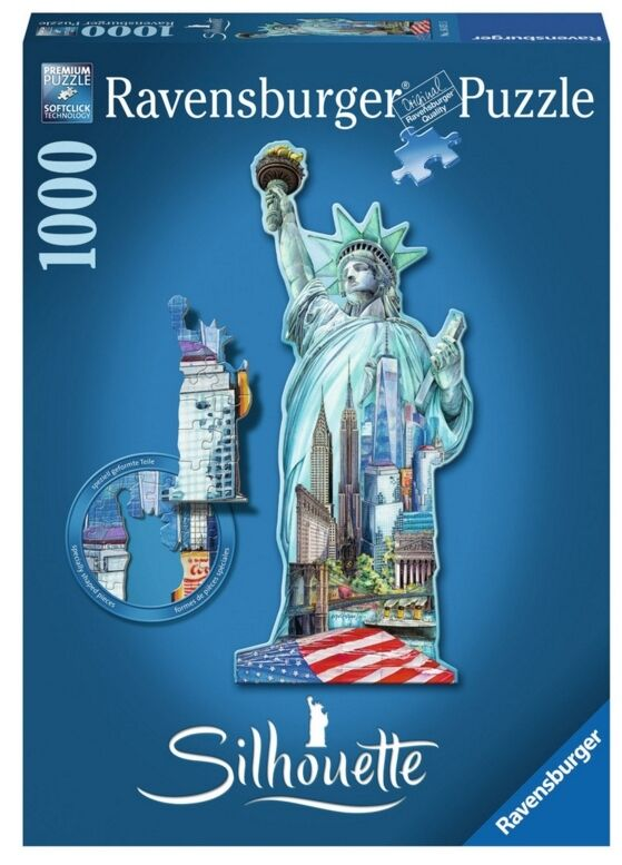 RAVENSBURGER 16151 PUZZLE SILHOUETTE STATUE LIBERTY NEW NEW YORK 1000 PIECES